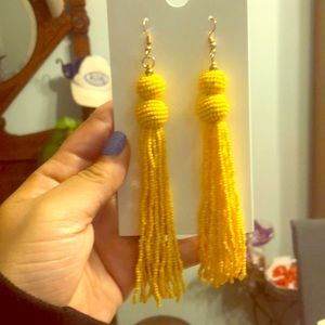 Yellow earrings beaded